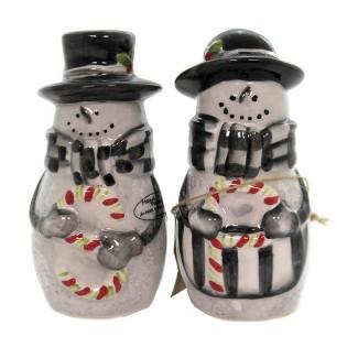 """Tabletop 4.25"""" Sketchbook Snowman S & P Christmas Candycane Park Designs - Salt And Pepper Shaker Sets : Target"""