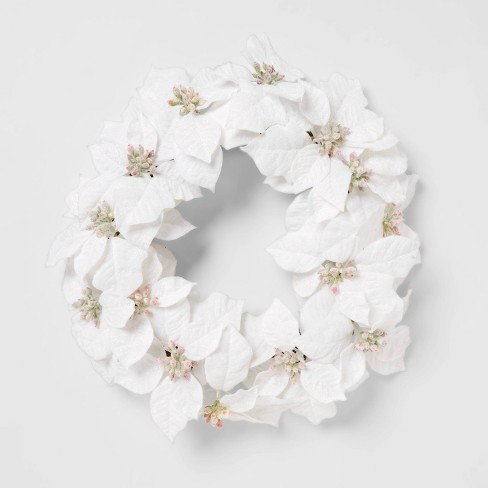 """20"""" Frosted Poinsettia Wreath White - Threshold™ - image 1 of 3"""