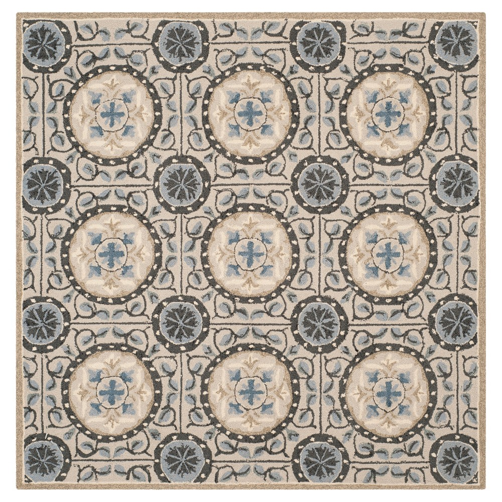 Cement/Blue (Silver/Blue) Shapes Hooked Square Area Rug 6'X6' - Safavieh