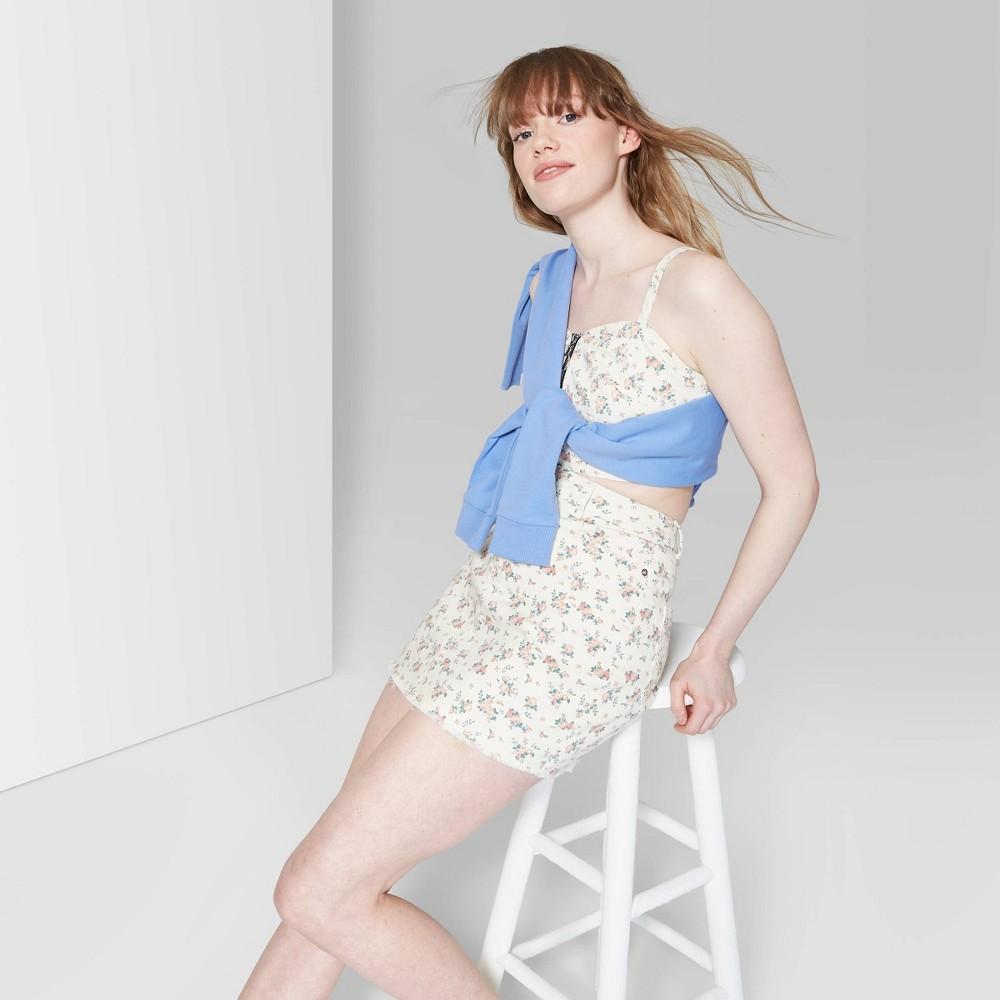 Women's Floral Print Mini Jeans Skirt - Wild Fable White 2