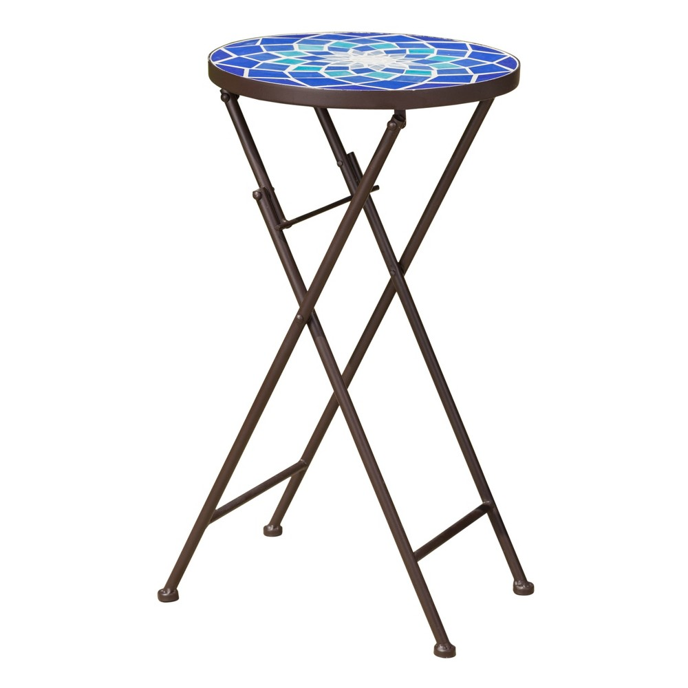 Image of Azure Glass Side Table - Blue/White - Christopher Knight Home