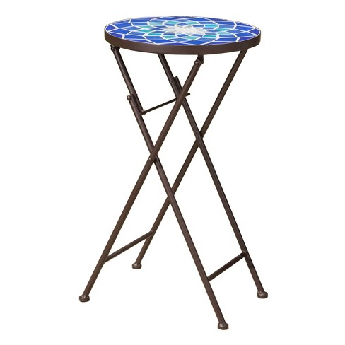 Azure Glass Side Table - Blue/White - Christopher Knight Home - image 1 of 4