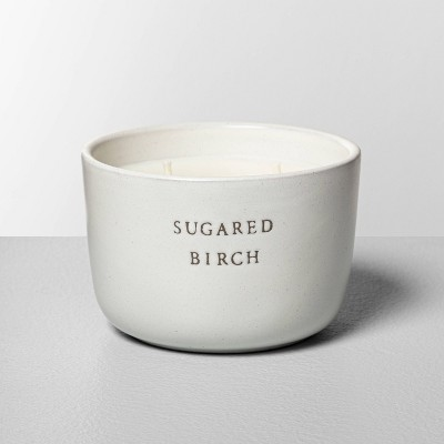7.4oz Ceramic 2-Wick Candle Sugared Birch - Hearth & Hand™ with Magnolia