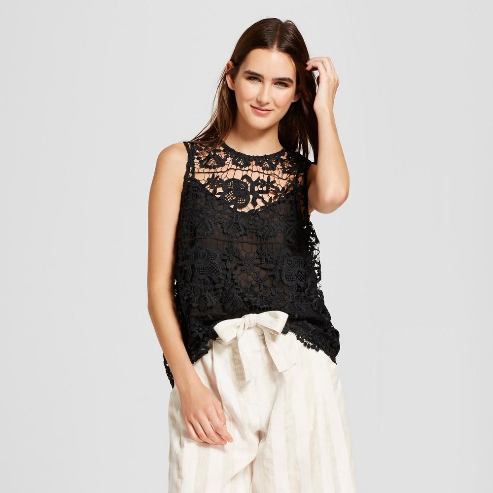 Women's Sleeveless Crochet Shell - Who What Wear Black M