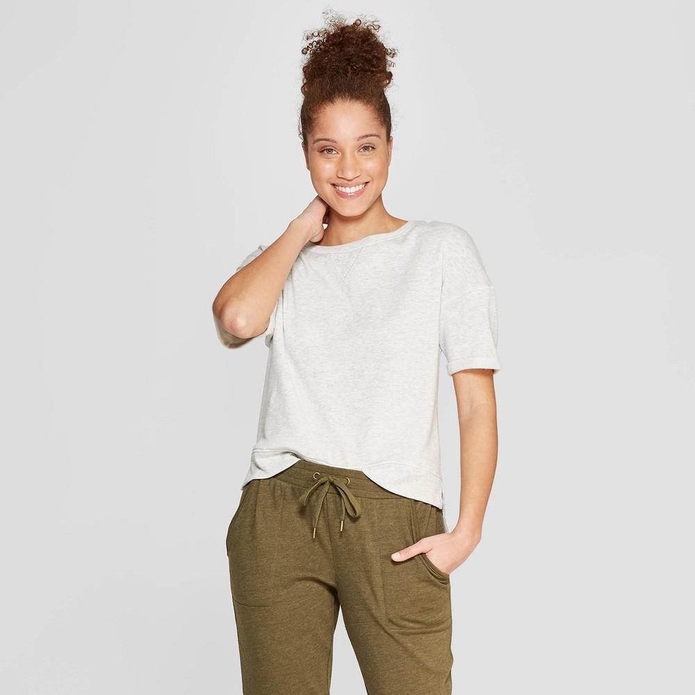 Women's Brushed Fleece Short Sleeve Lounge Sweatshirt - Stars Above Gray Xxl