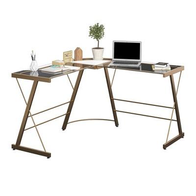 L Shaped Portland Glass Computer Desk - Room & Joy : Target