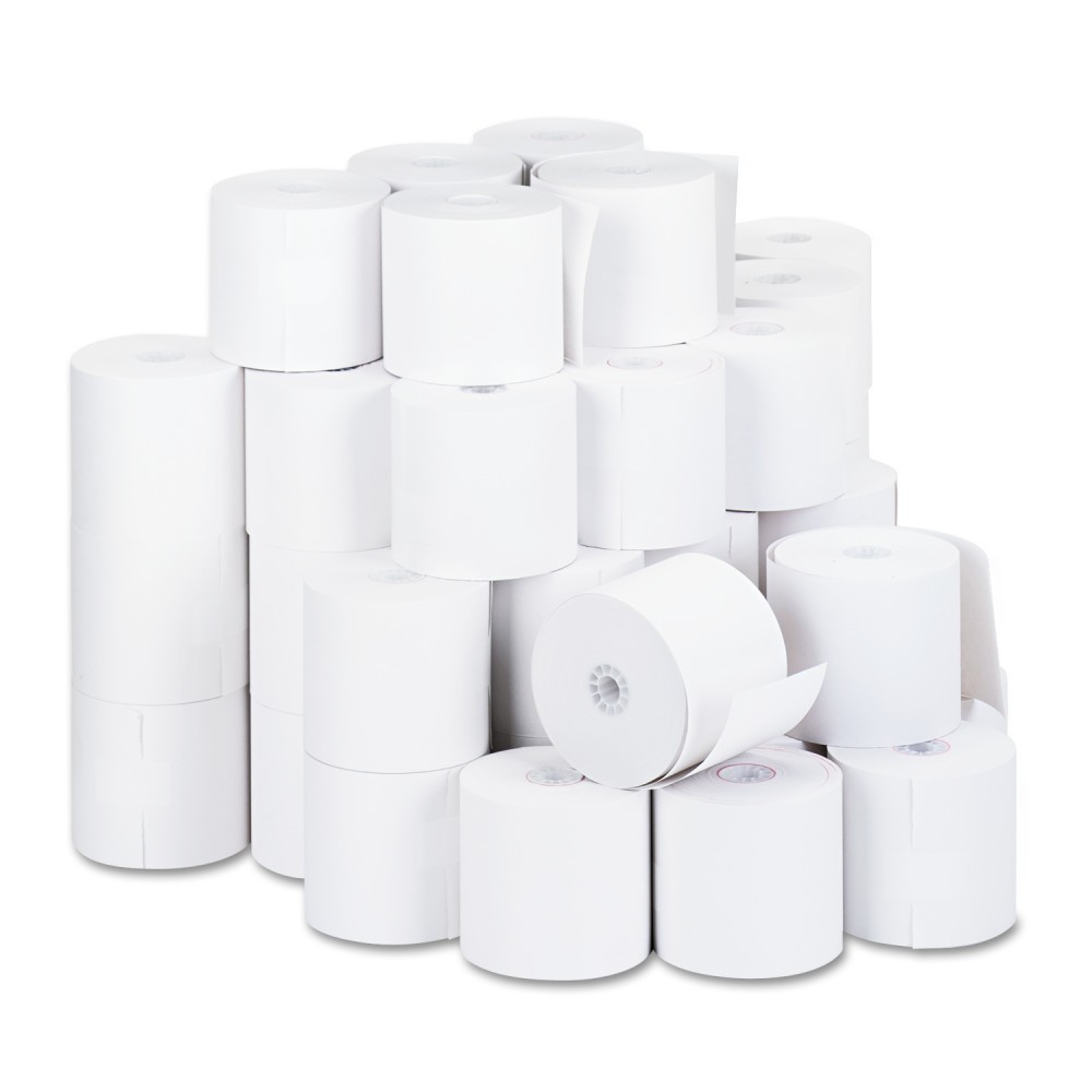 Universal 1-Ply Cash Register/Point of Sale Roll, 16 lb, 1/2 Core, 2-3/4x190', 50/ct, White