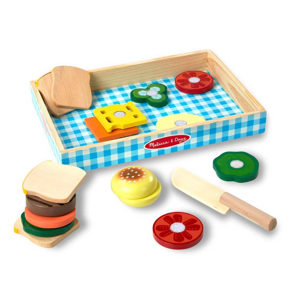 Melissa 38 Doug Wooden Sandwich Making Pretend Play Food Set