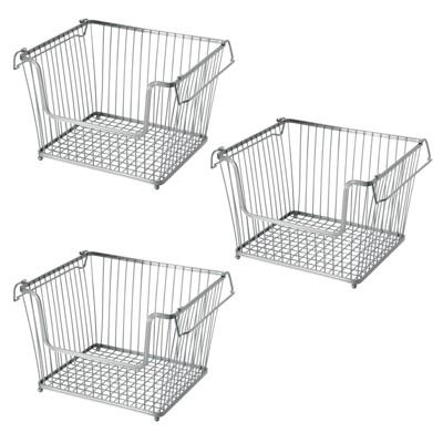 mDesign Metal Stackable Kitchen Storage Basket with Handles