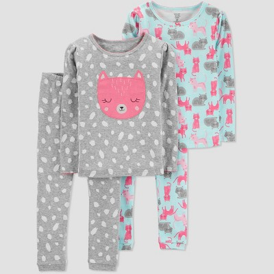 Baby Girls' 4pc Cat Pajama Set - Just One You® made by carter's Gray 9M