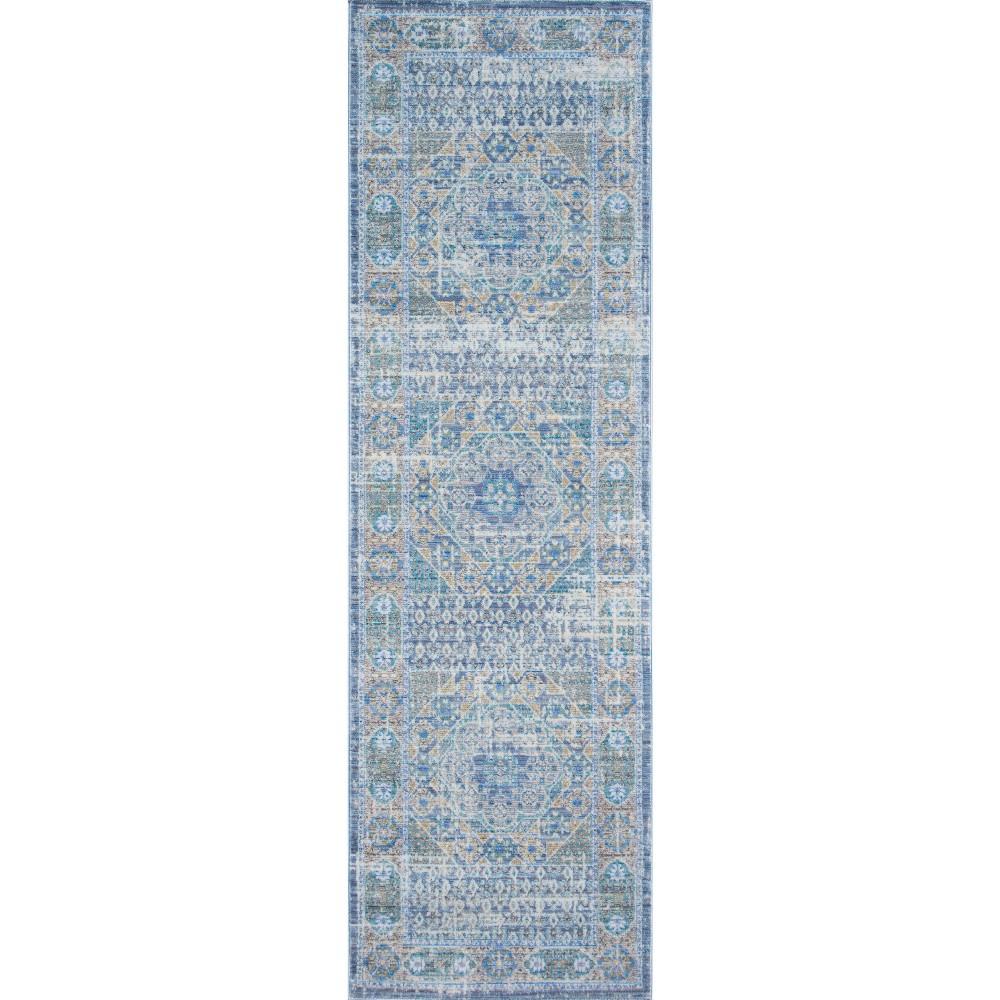 Blue Shapes Loomed Runner 2'3x8' - Momeni
