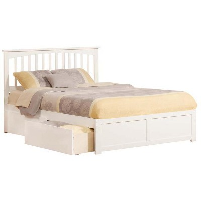 Atlantic Furniture Mission Queen Flat Panel Foot Board w/ 2 Urban Bed Drawers White