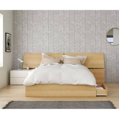 3pc Queen Bali Bedroom Set Natural Maple/White - Nexera