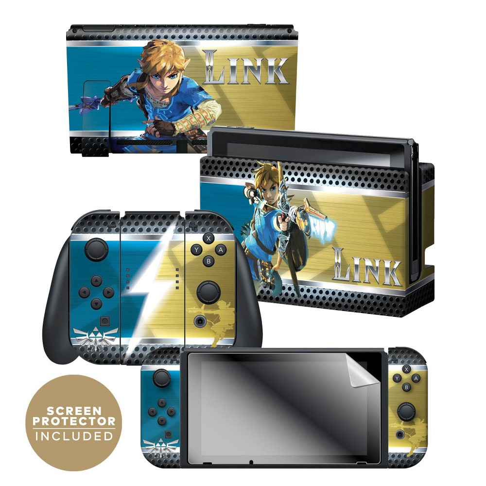Nintendo Switch The Legend of Zelda: Breath of the Wild Skin and Protector Set - Link, Multi-Colored Nintendo Switch The Legend of Zelda: Breath of the Wild Skin and Protector Set - Link Color: Multi-Colored. Pattern: Fictitious character.