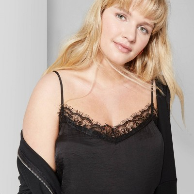 Women's Plus Size Strappy Lace Trim Cami   Wild Fable Black by Wild Fable Black