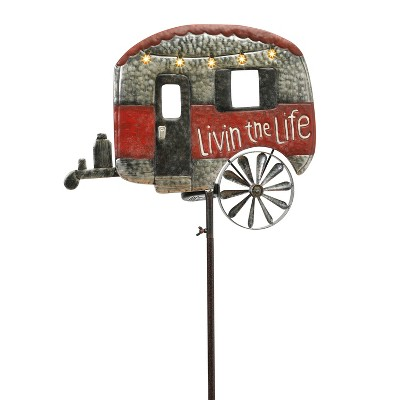 Gerson International 63-Inch High Solar Powered, Antique-Style Metal Camper Yard Stake with Wind Spinner