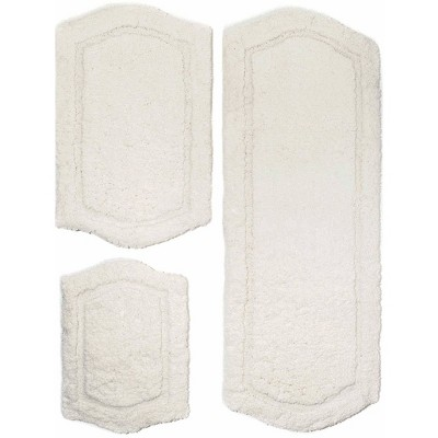 3pc Paradise Memory Solid Foam Bath Rug Set Ivory - Chesapeake
