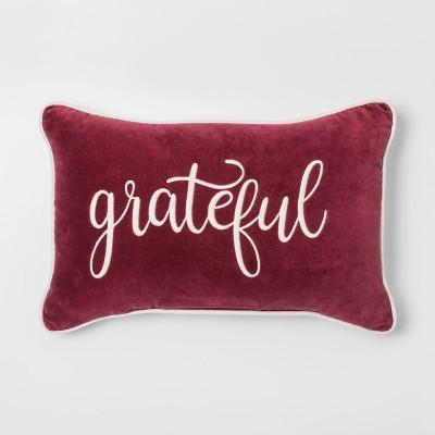 Grateful' Velvet Lumbar Throw Pillow Berry - Threshold™