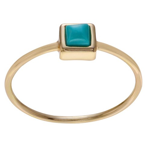 1/10 CT. T.W. Square-cut Turquoise Square Bezel Set Ring in Sterling Silver - image 1 of 2