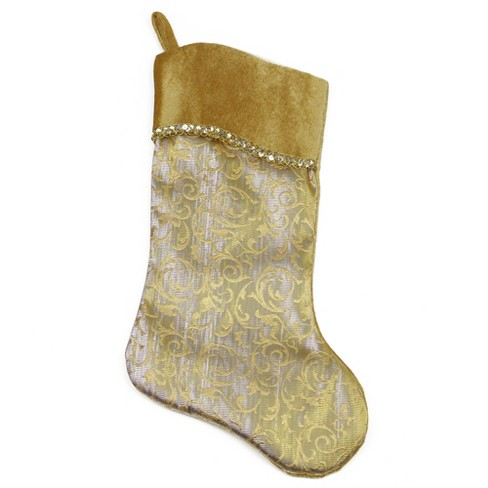 """Northlight 20.5"""" Two-Toned Metallic Gold Flourish Christmas Stocking with Curved Cuff - image 1 of 2"""