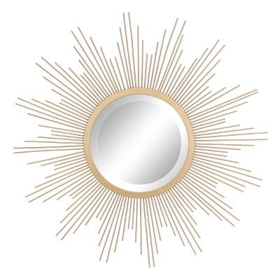 "23"" Metal Sunburst Wall Mirror Gold - Stonebriar Collection"