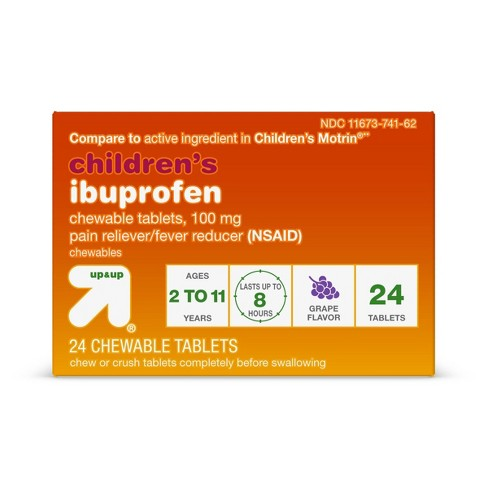 Junior Strength Ibuprofen (NSAID) Pain Reliever & Fever Reducer Tablets - Grape - 24ct - Up&Up™ - image 1 of 4