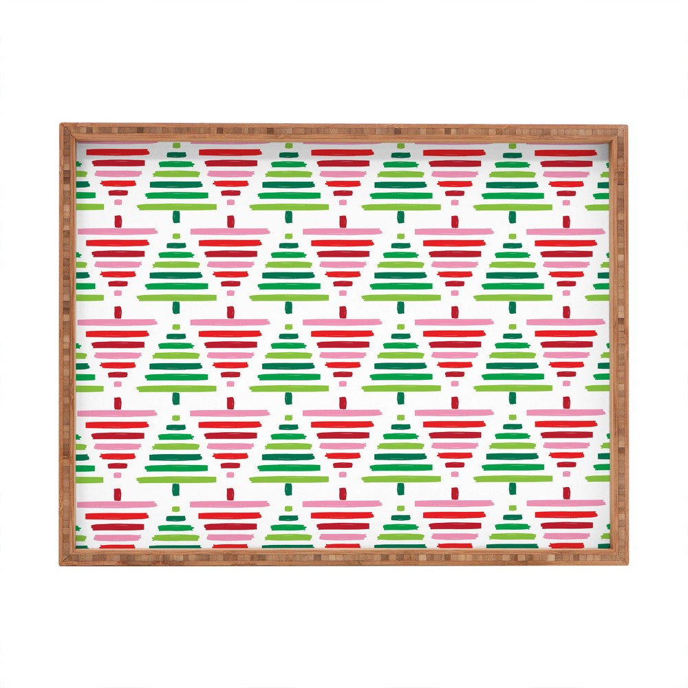 Zoe Wodarz Painted Forest Tray (18) - Deny Designs, Green Red
