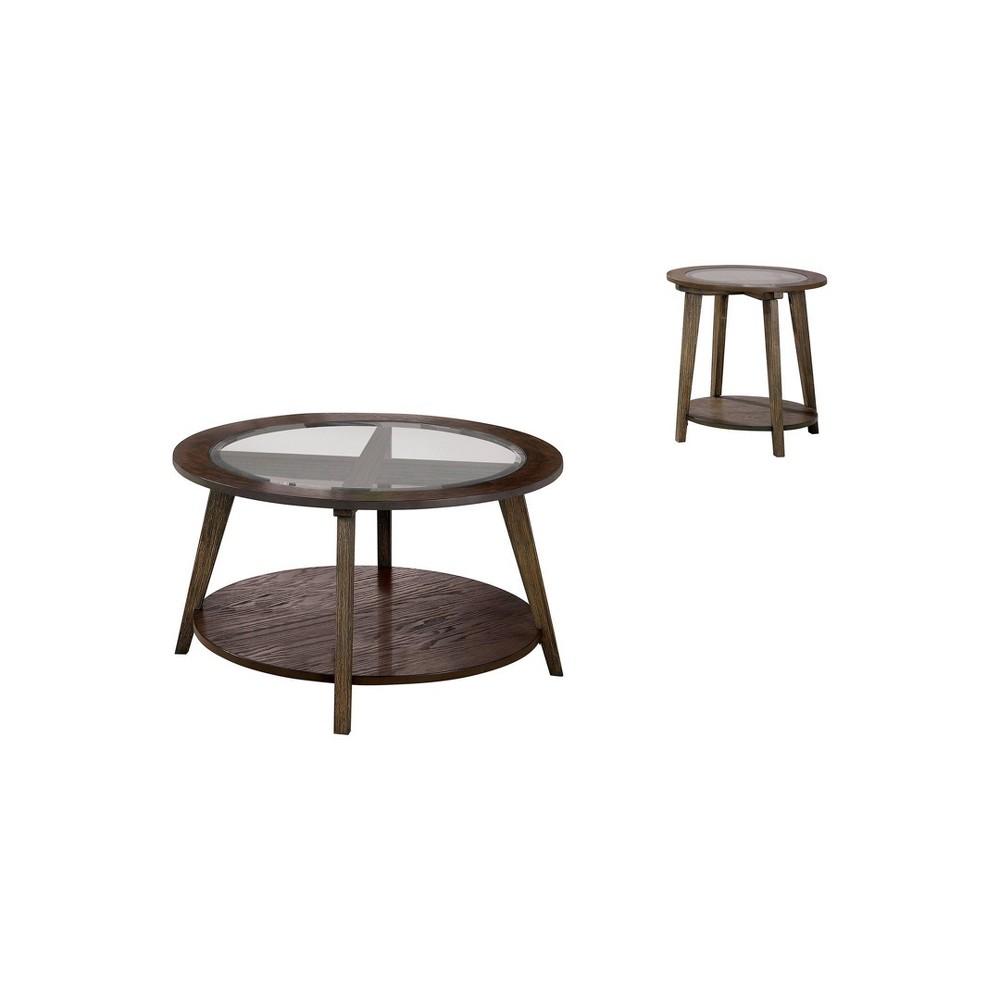 Best 2pc Nicolina Coffee Table Set Dark Oak - miBasics