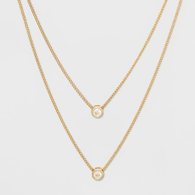 Channel Cubic Zirconia Short Two Row Necklace - A New Day™ Clear/Gold