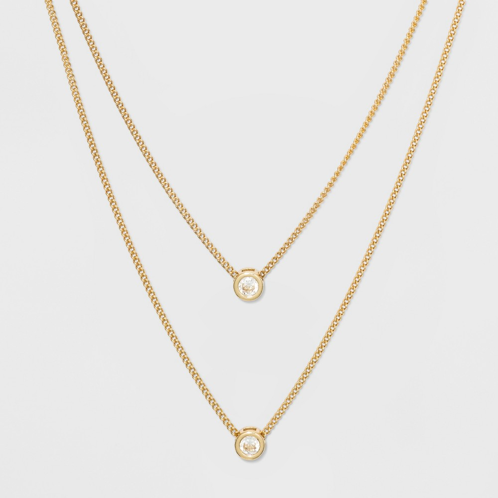 Channel Cubic Zirconia Short Two Row Necklace A New Day 8482 Clear Gold