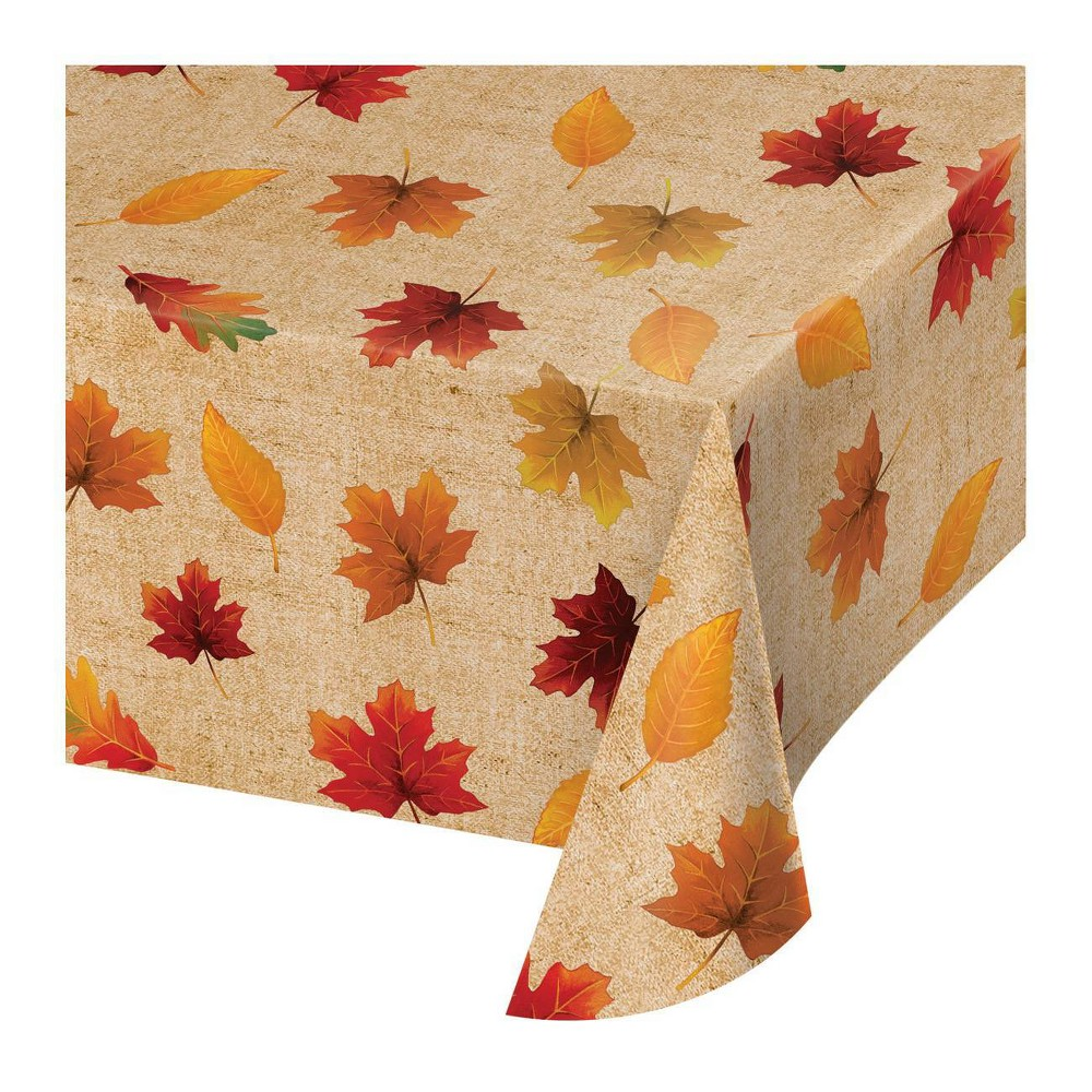 3ct Fall Leaves Vinyl Tablecloth