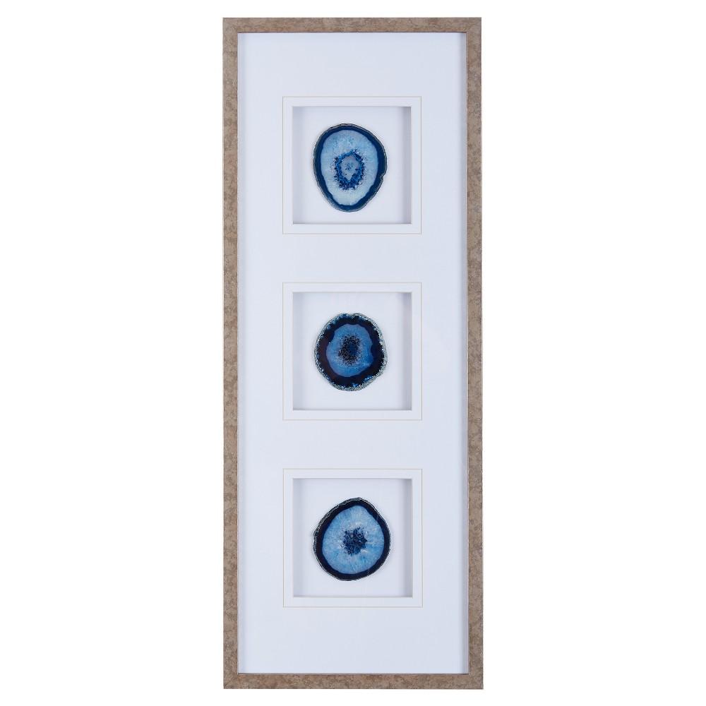 Agate Trio Stone Framed Graphic (4 Agate) - Blue