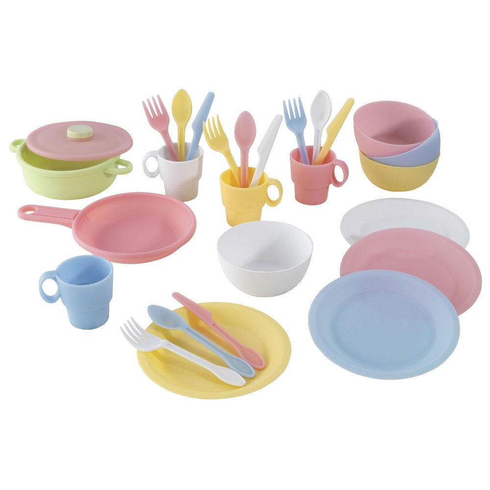 KidKraft Pastel Cookware 27 Piece Set This complete KidKraft 27-Piece Cookware Set has everything little cooks need to serve their friends, family or stuffed animals. With a lidded pot, pan and place settings for four, this set has everything kids need to be perfect hosts. Built from sturdy, easy-to-clean plastic, this set is built to last. Gender: Female.