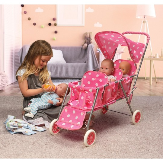 Badger Basket Triple Doll Stroller - Polka Dots image number null