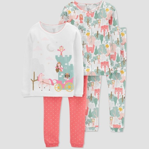 Baby Girls' 4pc Princess Pajama Set - Just One You® made by carter's Green 9M - image 1 of 1
