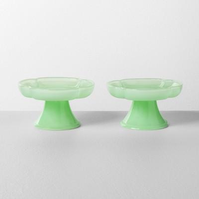 2pk Milk Glass Mini Cupcake Stand Clover Green - Hearth & Hand™ with Magnolia