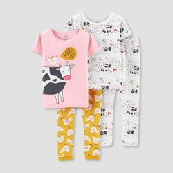 Toddler Girls' 4pc Cow 100% Cotton Pajama Set - Just One You® made by carter's Pink/Yellow