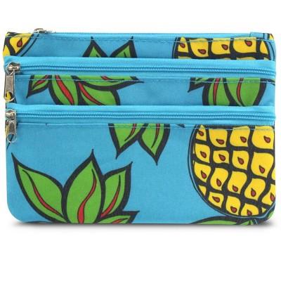 Zodaca Coin Purse Women Zipper Bag Key Wallet Pouch Clutch Key Card Holder - Blue Pineapple
