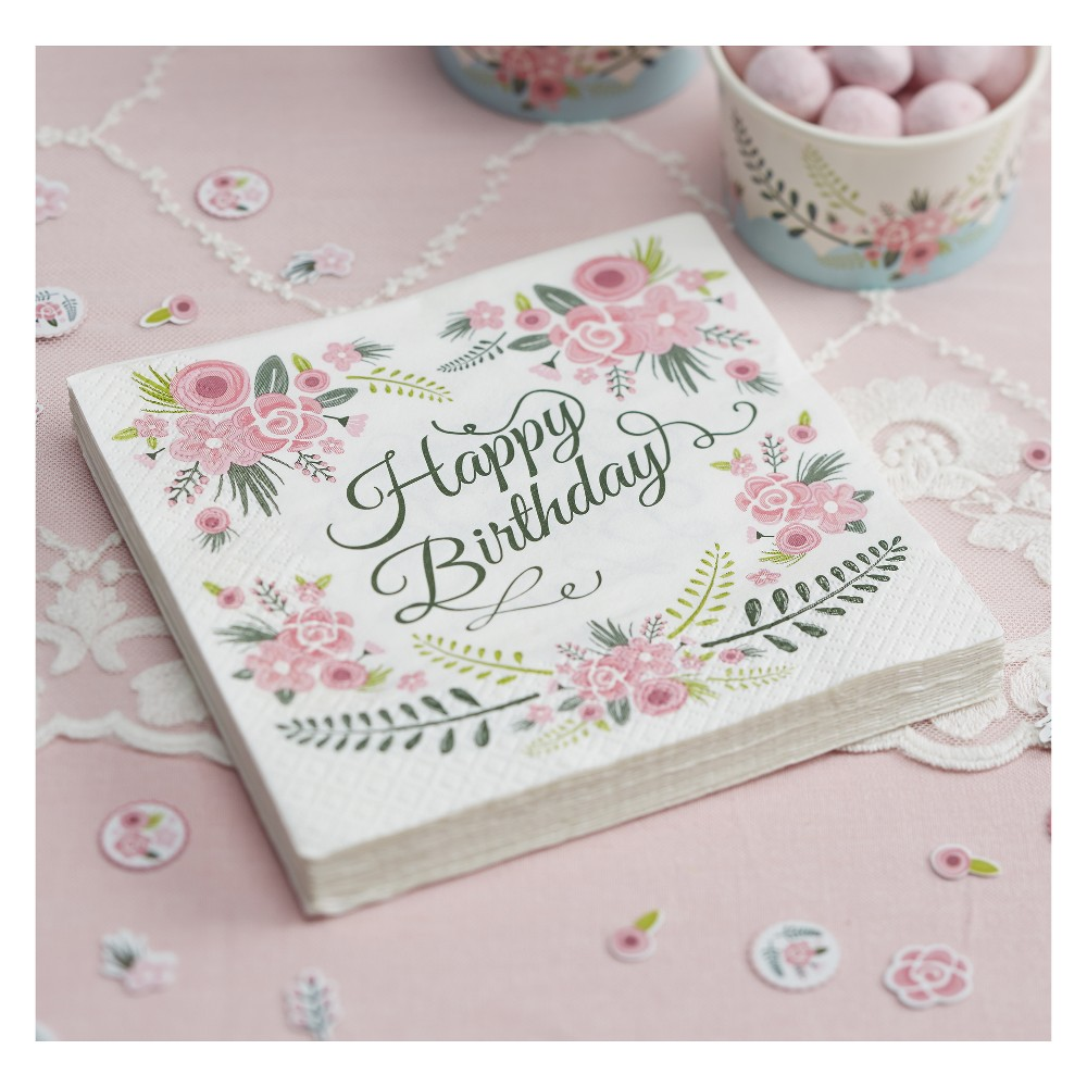 20ct Ginger Ray Napkins Happy Birthday Floral Fancy, Multi-Colored