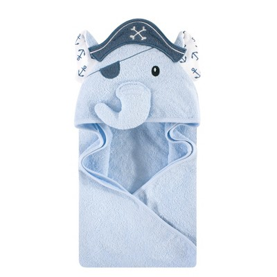 Hudson Baby Infant Boy Cotton Animal Face Hooded Towel, Pirate Elephant, One Size