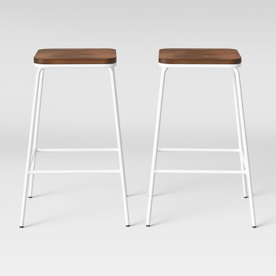 Set of 2 Rhodes Metal/Wood Counter Stool White - Project 62™