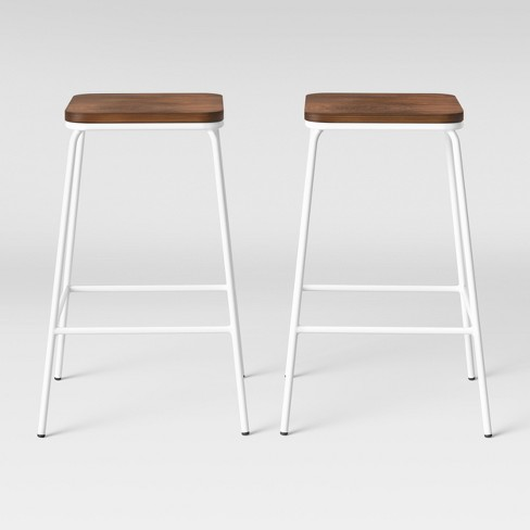 Outstanding Set Of 2 Rhodes Metal Wood Seat Square Counter Stool Project 62 Pdpeps Interior Chair Design Pdpepsorg
