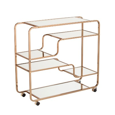 Marianne Mirrored Bar Cart Gold - Aiden Lane