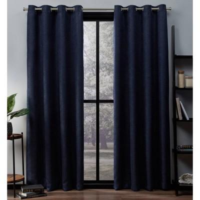 Oxford Textured Sateen Thermal Room Darkening Grommet Top Window Curtain Panel Pair Navy 52x84 - Exclusive Home