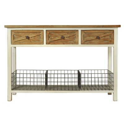 Quail Farm 3 Drawer Console Table White   StyleCraft : Target