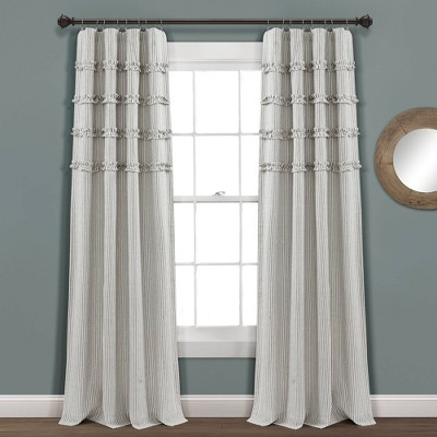"Set of 2 40""x95"" Vintage Stripe Yarn Dyed Cotton Light Filtering Window Curtain Panels Gray/White - Lush Décor"