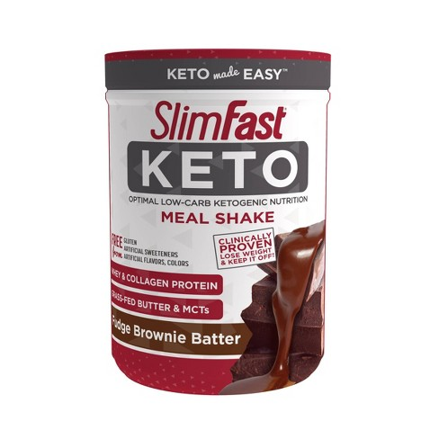 SlimFast Keto Meal Replacement Powder - Fudge Brownie Batter - 16oz - image 1 of 2