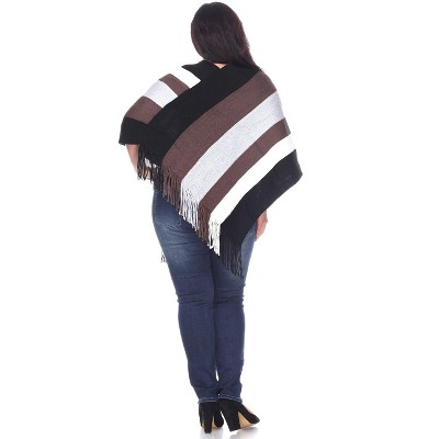White Mark Womens Plus Stripe Three Quarter Sleeve V Neck Shawl Sweater - Multicolored One Size Fits Most