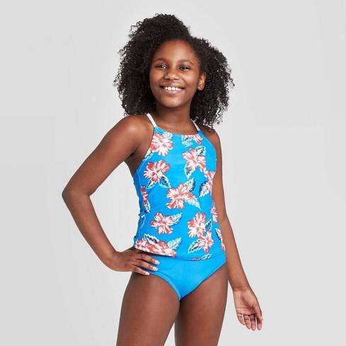 Speedo Girls Swimsuit Two Piece Tankini Thin Strap