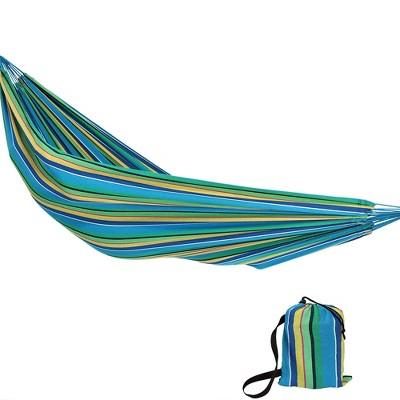Sea Grass Jumbo Hanging Rope Hammock Chair Swing - Green/Blue/Yellow - Sunnydaze Decor